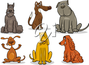 Cartoon Illustration of Cute Dogs or Puppies Pet Set