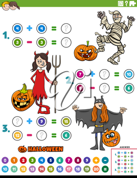 Cartoon illustration of educational mathematical addition and subtraction puzzle task with children characters on Halloween time