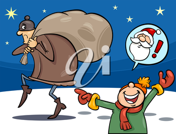 Royalty Free Clipart Image of a Little Boy Who Thinks a Thief is Santa