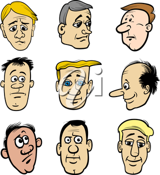 Cartoon Illustration of Men Heads Characters and Emotions or Expressions