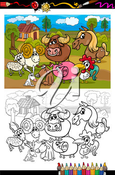 Coloring Book or Page Cartoon Illustration Set of Black and White Farm Animals Characters in Country Scene for Children