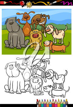 Coloring Book or Page Cartoon Illustration of Color and Black and White Dogs Group for Children
