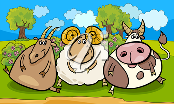 Cartoon Illustration of Country Rural Scene with Farm Animals Goat and Bull and Ram Characters Group