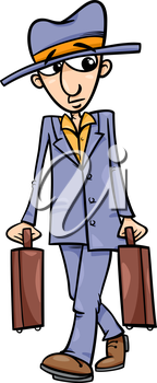 Cartoon Illustration of Funny Man with Suitcases