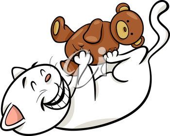 Cartoon Illustration of Cute Cat Playing with Teddy Bear