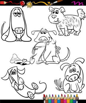 Coloring Book or Page Cartoon Illustration of Black and White Funny Dogs Pets Characters for Children