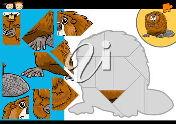 Cartoon Illustration of Education Jigsaw Puzzle Game for Preschool Children with Funny Beaver Animal Character
