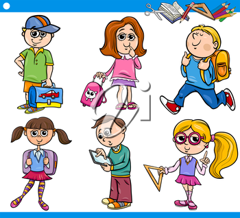 Cartoon Illustration of Primary School Students or Pupils Boys and Girls Children Characters Set