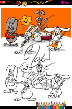Coloring Book or Page Cartoon Illustration of Black and White Funny Rabbits Band Playing Rock Music Concert Group for Children