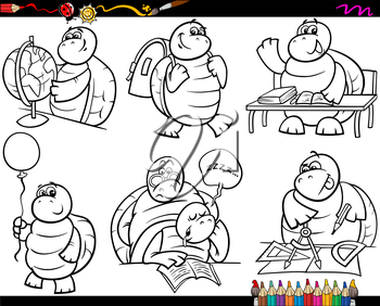 Coloring Book or Page Cartoon Illustration of Black and White Funny Turtle Animal Character at School for Children