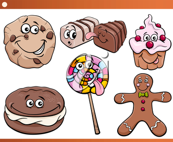 Cartoon Illustration of Funny Sweets and Cookies Set