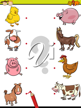 Cartoon Illustration of Education Element Matching Game for Preschool Children with Baby Animals and their Mothers