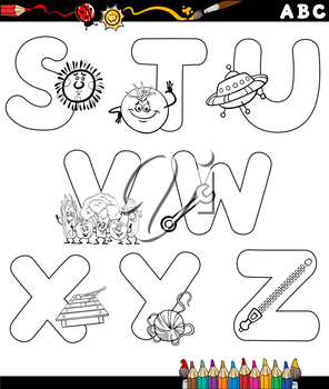 Black and White Cartoon Illustration of Capital Letters Alphabet with Objects for Children Education from S to Z for Coloring Book