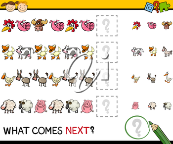 Cartoon Illustration of Completing the Pattern Educational Game for Preschool Children with Farm Animals
