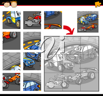 Cartoon Illustration of Education Jigsaw Puzzle Game for Preschool Children with Cars Land Vehicles Characters Group