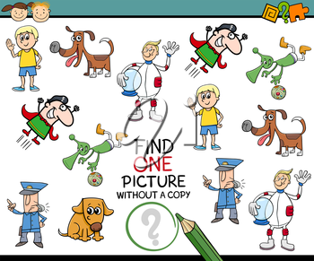 Cartoon Illustration of Educational Game of Single Picture Finding for Preschool Children