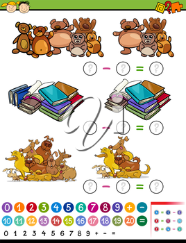 Cartoon Illustration of Education Mathematical Subtraction Algebra Game for Preschool Children