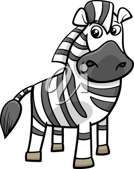 Cartoon Illustration of Funny Zebra African Animal