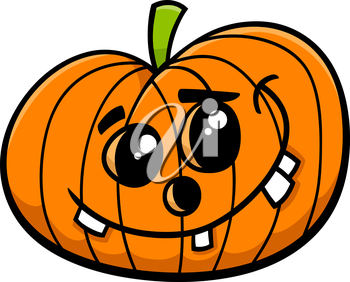 Cartoon Illustration of Funny Jack Lantern Halloween Pumpkin Clip Art