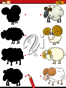 Cartoon Illustration of Education Shadow Game for Preschool Children with Rams Farm Animal Characters