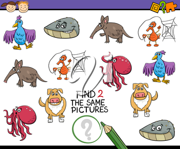 Cartoon Illustration of Looking for the Same Picture Educational Task for Preschool Children with Animal Characters