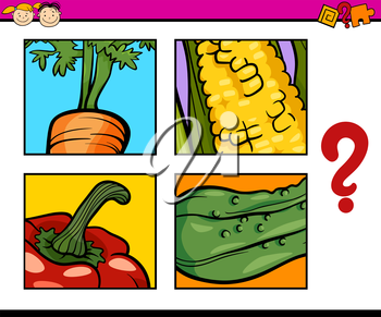 Cartoon Illustration of Education Task for Preschool Children od Guess the Vegetables
