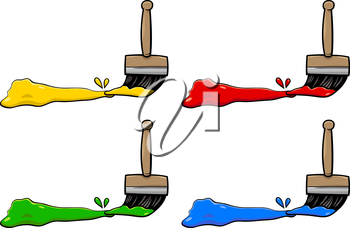 Cartoon Illustration of Paintbrushes with Primary Colors Design Elements