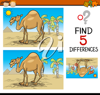 Cartoon Illustration of Finding Differences Educational Task for Preschool Children with Camel Animal Character