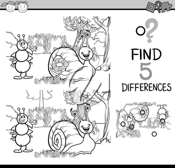 Black and White Cartoon Illustration of Finding Differences Educational Task for Preschool Children with Ant and Snail Characters for Coloring Book