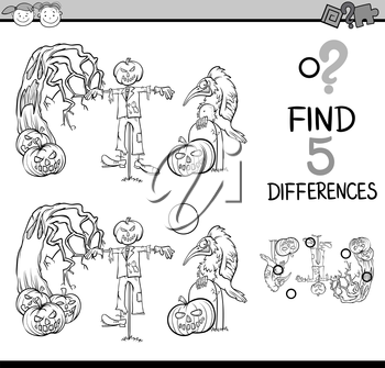 Black and White Cartoon Illustration of Finding Differences Educational Task for Preschool Children with Halloween Characters for Coloring Book