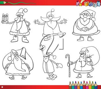 Coloring Book Cartoon Illustration of Black and White Christmas Themes Set with Santa Claus Characters