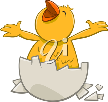 Cartoon Illustration of Little Chick which was Hatched from an Egg