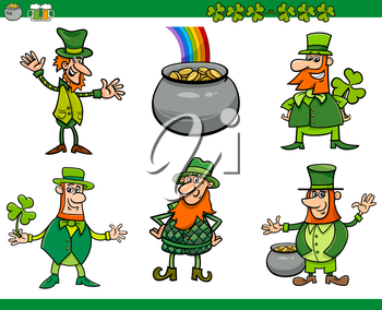 Cartoon Illustration of Leprechaun Characters and Saint Patrick Day Themes Set