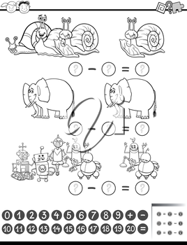 Black and White Cartoon Illustration of Education Mathematical Subtraction Task for Preschool Children Coloring Book