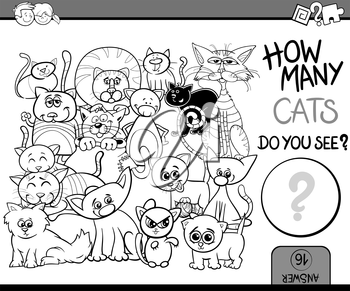 Black and White Cartoon Illustration of Educational Counting Task for Preschool Children with Cats Animal Characters Coloring Book