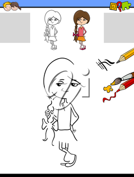 Cartoon Illustration of Drawing and Coloring Educational Task for Preschool Children with Cute Girl Character