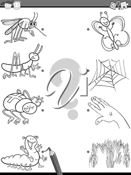 Black and White Cartoon Illustration of Education Element Matching Task for Preschool Children with Insects Coloring Book