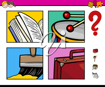 Cartoon Illustration of Educational Activity for Preschool Children with Objects