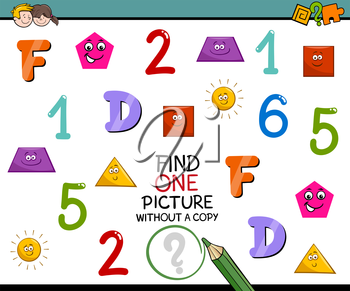 Cartoon Illustration of Educational Activity of Single Picture Search for Preschool Children