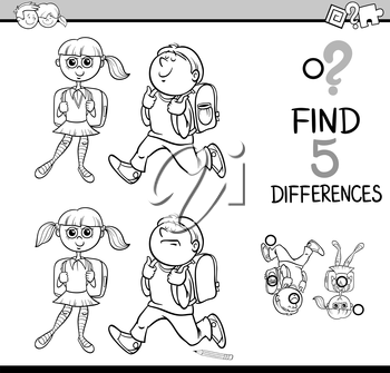 Black and White Cartoon Illustration of Finding Differences Educational Activity with School Children for Coloring Book