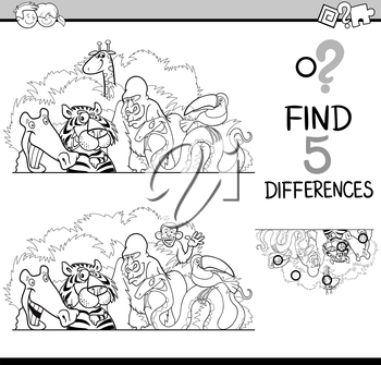 Black and White Cartoon Illustration of Finding Differences Educational Activity Task for Preschool Children with Wild Animal Characters for Coloring Book