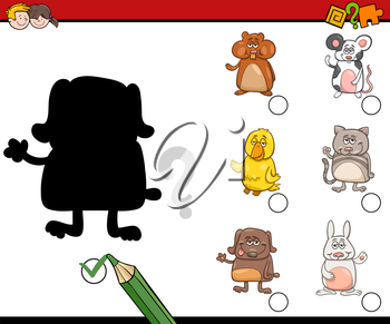 Cartoon Illustration of Educational Shadow Activity Task for Children with Pet Animal Characters