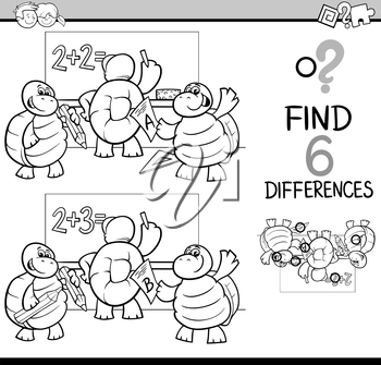 Black and White Cartoon Illustration of Finding Differences Educational Activity Game for Children with Turtle Student Characters Coloring Book