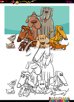 Cartoon Illustration of Dog Animal Characters Group Coloring Book