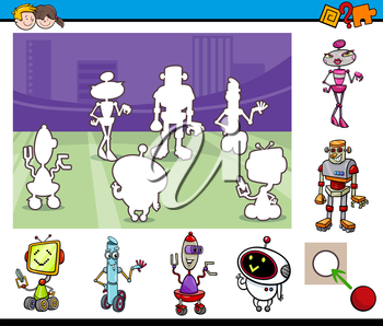 Cartoon Illustration of Educational Activity Game for Preschool Children with Robot Characters
