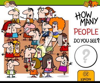 Cartoon Illustration of Educational Counting Activity for Children with People Characters Big Crowd