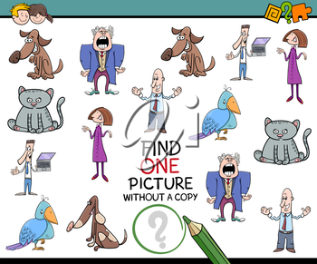 Cartoon Illustration of Educational Activity of Finding Single Image Without a Copy for Children