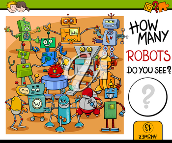 Cartoon Illustration of Educational Counting Activity for Children with Robot Characters