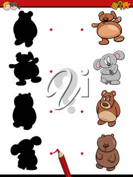 Cartoon Illustration of Find the Shadow Educational Activity Game for Children with Bears Animal Characters