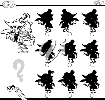 Black and White Cartoon Illustration of Find the Shadow without Differences Educational Activity for Children with Pirate Character Coloring Page